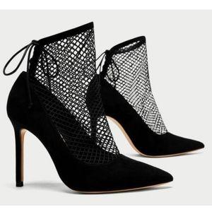 Zara Mesh stiletto black heels size 11 NWT
